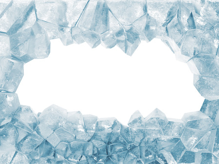 Broken Ice Wall isolated on white background photo