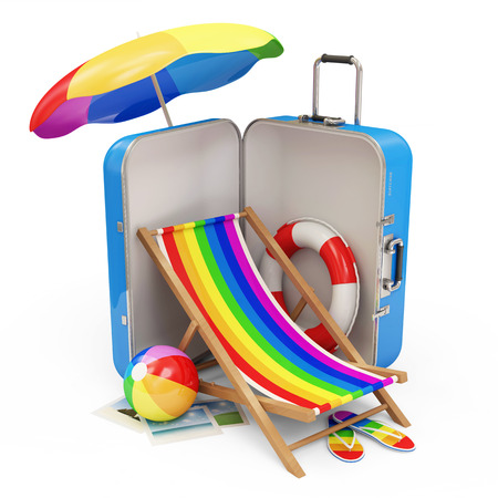 Suitcase with Different Accessories for Vacation isolated on white background photo