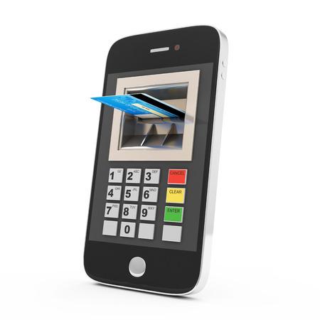 banco mundial: Tarjeta de crédito y Smart Phone aislado en fondo blanco concepto de banca móvil