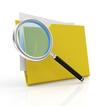 antiviral: Magnifying Glass and Yellow Folder isolated on white background  Searching concept