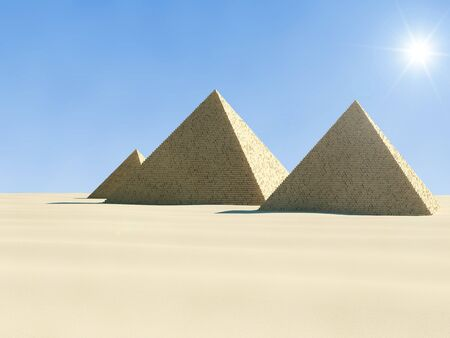cheops: 3d Illustration of Ancient Pyramid in desert Stock Photo
