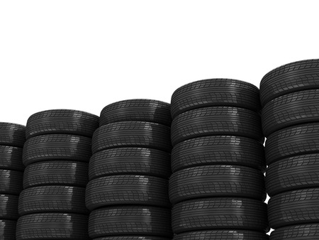 retreading: Stack of Car Tires isolated on white background with place for your text Stock Photo