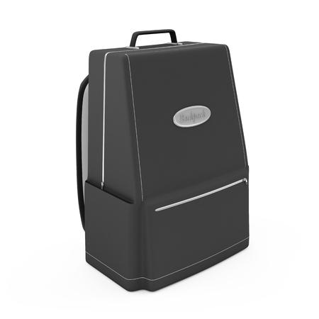 packsack: Black Backpack isolated on white background