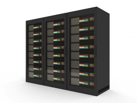 renderfarm: Group of Modern Server Rack isolated on white background