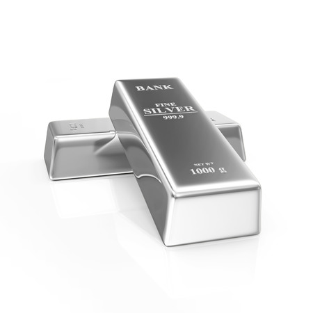 futures: Two Silver Bars on white background Stock Photo