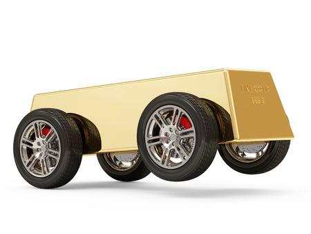 Golden Bar on Wheels isolated on white background photo