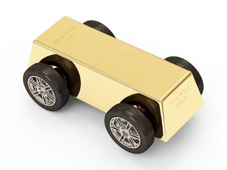 futures: Golden Bar on Wheels isolated on white background Stock Photo