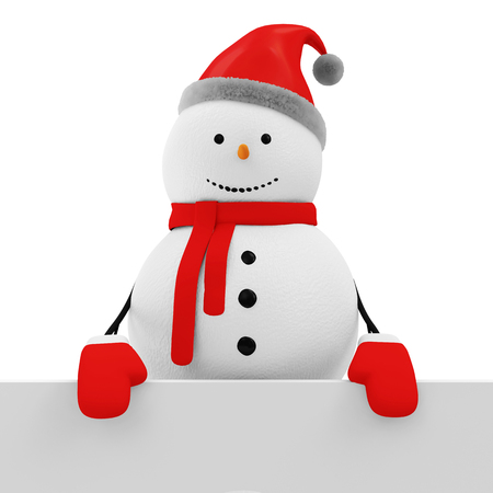 craft man: Snowman with Blank Board isolated on white background