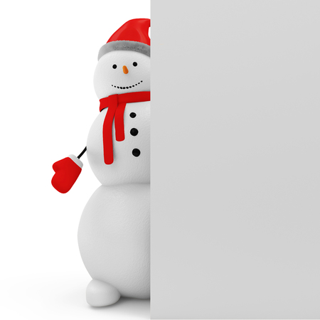 Snowman with Blank Board isolated on white background photo