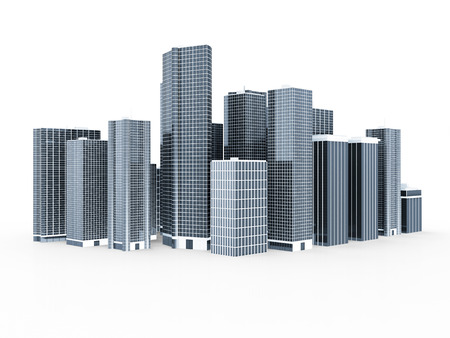 corporate building: Modern Business City isolated on white background