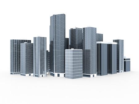 edificio industrial: Moderna ciudad de negocios aislados en fondo blanco