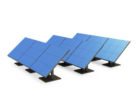 photovoltaic power station: Group of Modern Solar Panels isolated on white background  Alternative Energy Concept Stock Photo