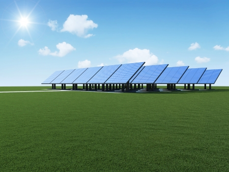 Modern Solar Panels Farm on beautiful green grass with sun and clouds  Alternative Energy Concept photo