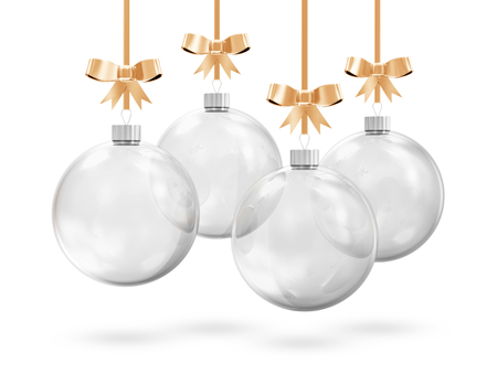 Glass Christmas Balls Hanging on Golden Ribbons isolated on white background photo