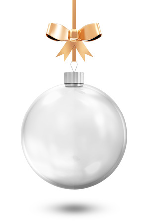 Empty Glass Christmas Ball with Golden Bow isolated on white background photo
