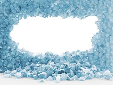 Gebroken ijs muur op een witte achtergrond Stockfoto