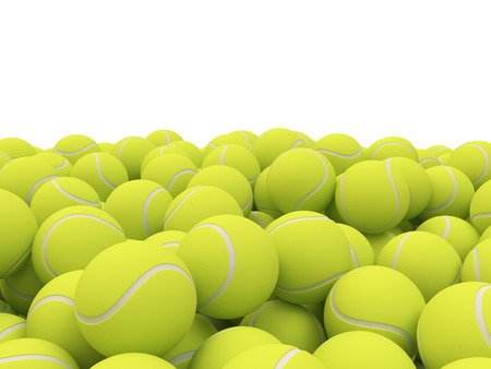 Heap of tennis balls with place for Your text isolated on white background Stock Photo