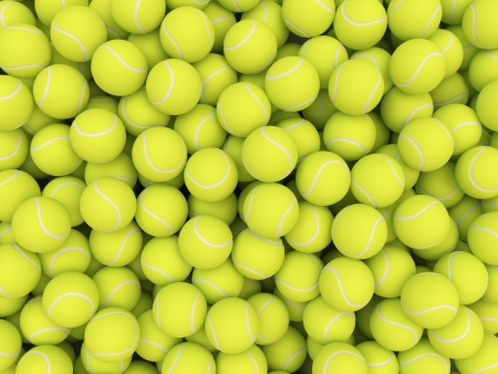 multiple objects: Heap of tennis balls isolated on white background Stock Photo