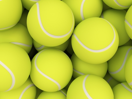 Heap of tennis balls isolated on white background photo