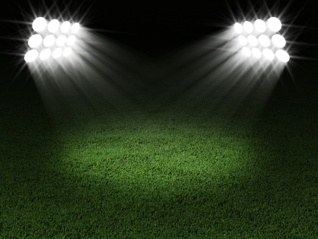 soccer stadium: Green Soccer Field Illuminated by Spotlights