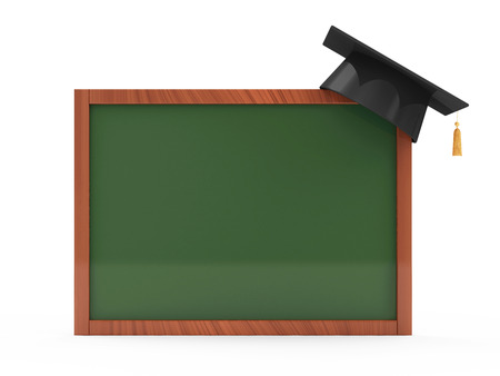 Green chalkboard with Graduation Cap isolated on white background photo