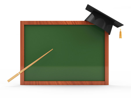 Green Chalkboard with Graduation Cap and Pointer isolated on white background photo