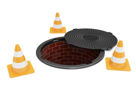 sewer: Street Manhole Under Construction