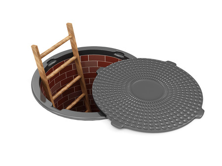 Opened Street Manhole with a ladder inside over white background