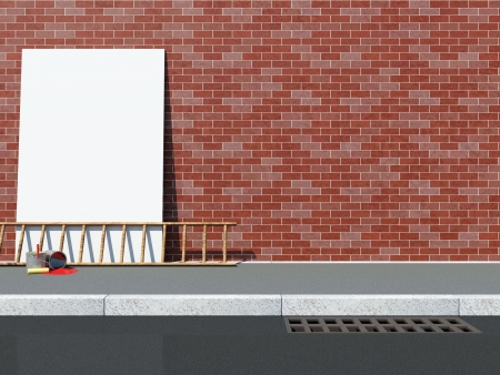 Blank Billboard near the Brick Wall with Ladder and Paint Cans photo
