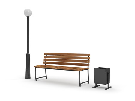 timber bench seat: Bench with Street Lamp and bin isolated on white background