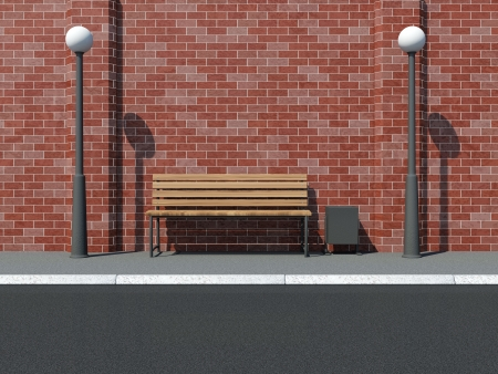 litterbin: Abstract illustration of Street with Bench and Street Lamps near the Brick Wall