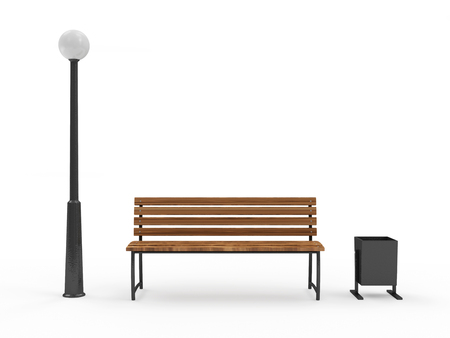 seating furniture: Bench with Street Lamp and bin isolated on white background