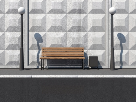 litterbin: Abstract illustration of Street with Bench and Street Lamps near the Concrete Wall