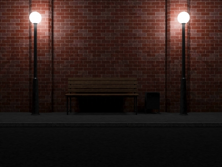 litterbin: Abstract illustration of Street at Night with Bench and Street Lamps Stock Photo