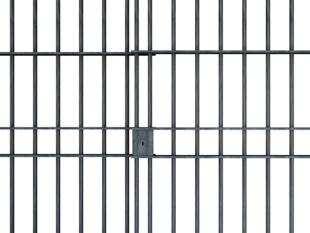 Jail bars isolated on white background photo