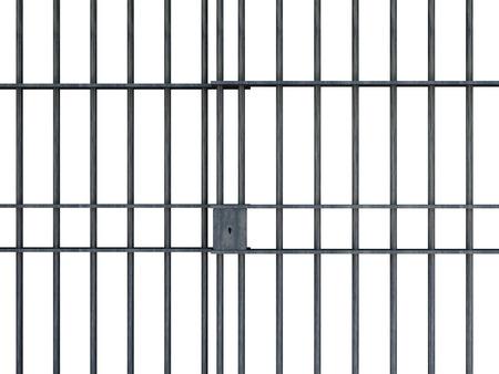 prisoner: Jail bars isolated on white background