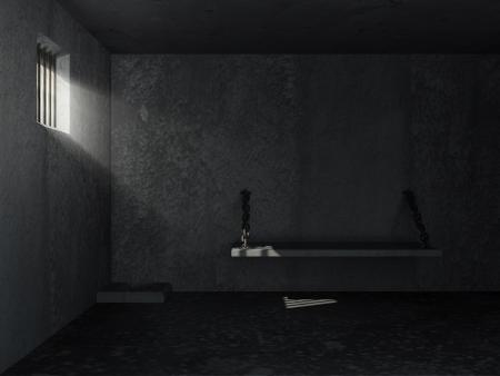penitenciaria: Grunge Viejo Interior prisión con rayos de sol de última hora a través de una ventana con barrotes