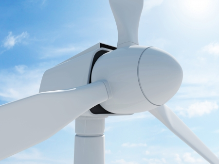 wind up: Modern Wind Turbine on beautiful clouds background with sun Stock Photo
