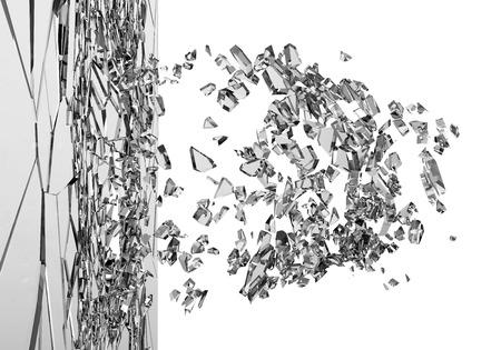 白い背景上に分離されて壊れたガラスの抽象的なイラスト