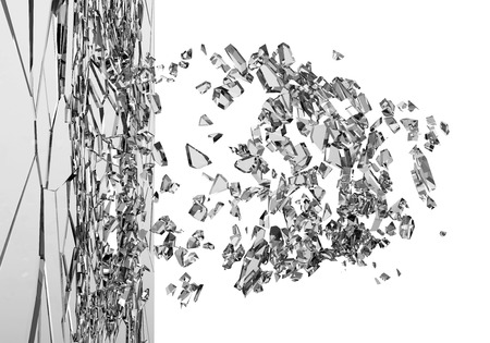 Abstracte illustratie van gebroken glas geïsoleerd op een witte achtergrond Stockfoto