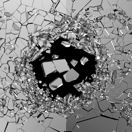 raze: Abstract Illustration of Broken Glass isolated on black background