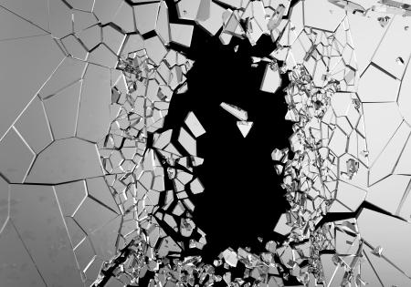 Abstracte Illustratie van Gebroken Glas geïsoleerd op zwarte achtergrond Stockfoto