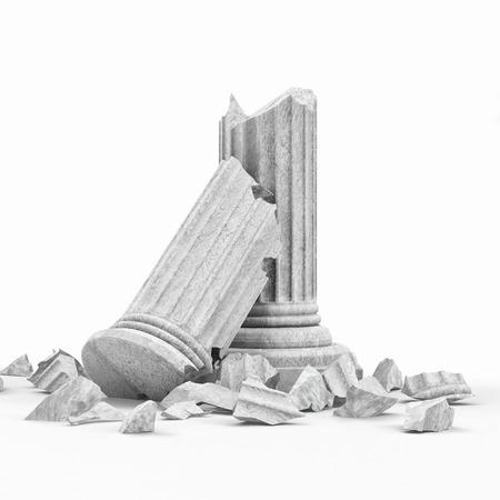 브로큰 고전 고대의 열 흰색 배경에 고립