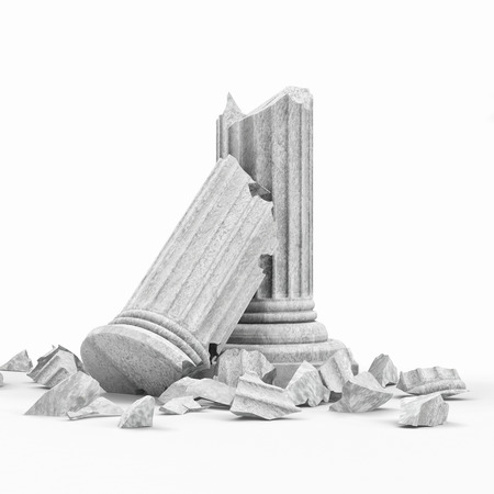 Gebrochene Klassische Antike Säule isoliert auf weißem Hintergrund Standard-Bild