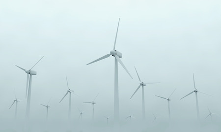 windpower: Modern Wind Turbines on Dense Fog