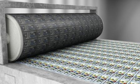 新 100 ドル紙幣を印刷 写真素材