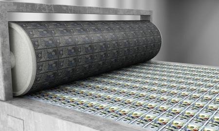 imprenta: Impresión de dinero Nuevos billetes de 100 dólares