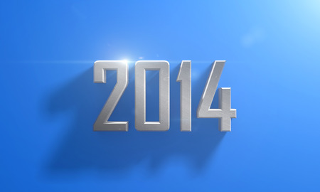 Metal New Year 2014 on blue background with shadows  photo