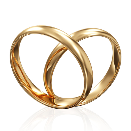 rich couple: Golden Wedding Rings in Heart Form isolated on white background Stock Photo
