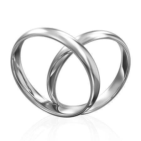 engagement rings: Silver Wedding Rings in Heart Form isolated on white background
